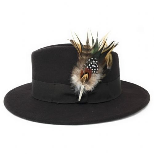 Womens Showerproof Wool Brown Fedora Hat with Country Feather Brooch - Burford